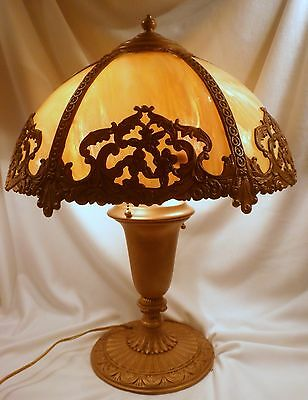 Caramel Slag Glass Bent Panel Lamp, Cast Iron, Double Sockets, Working