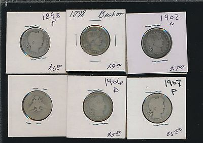 Barber Quarters - 1898 Up (6 Different) - Silver Buy