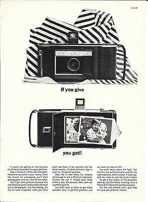 1961 Polaroid 10 Second Automatic Camera Ad If You Give You Get