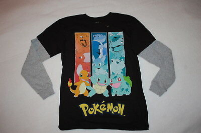 66d35e329 Boys L/S Tee Shirt POKEMON Layered Look BLACK Gray Sleeves BAGGY FIT Size M