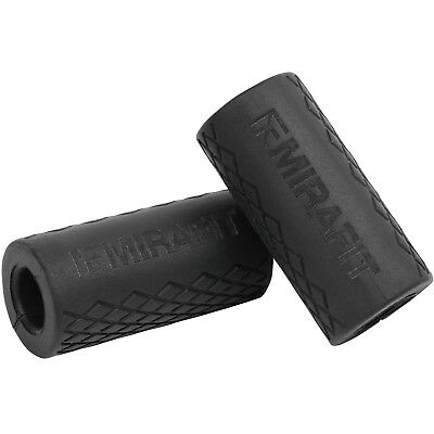 Mirafit Set of 2 Black Bar/Dumbbell Thick Grips Weightlifting Hand/Grip Strength