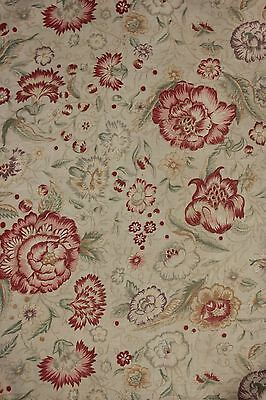 Printed linen fabric French faded floral STUNNING design with rings c 1920 1930