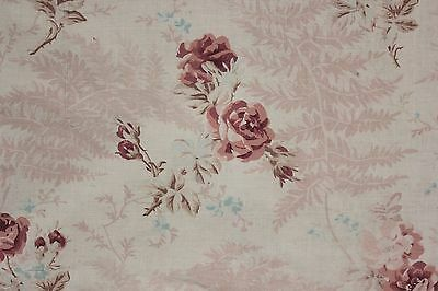 Antique  French printed cotton  faded roses ribbon shabby chic