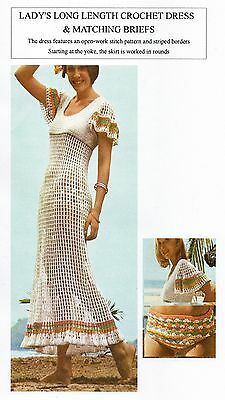 Vintage Crochet Pattern - Lady's Long Dress & Matching Briefs - 3Ply - Laminated