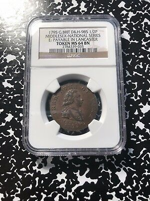 1795 Great Britain Middlesex Conder Token Halfpenny NGC MS64 BN Lot#G524 DH#985