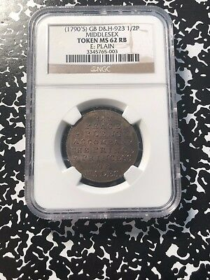 1790's Great Britain Middlesex Conder Token Halfpenny NGC MS62 RB #G528 DH#923