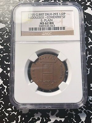 1795 Great Britain Middlesex Conder Token Halfpenny NGC MS62 BN #G532 DH#293