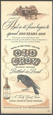 Its Fame began to spread 100 years ago, 1946 Old Crow Whiskey Magazine Ad