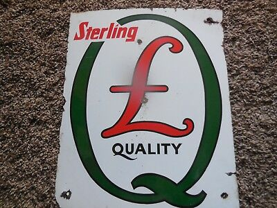 "STERLING OIL ORIGINAL 12"" x 14 1/2"" PORCELIN GAS PUMP SIGN! ""STERLING QUALITY"""