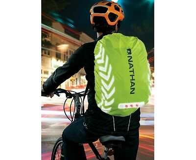 Nathan Packster Light Rucksack Cover, Hi Viz Reflective with lights, Cycling