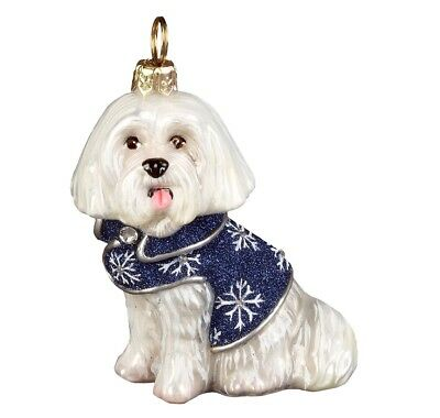 Maltese in Snowflake Coat with Crystals Polish Blown Glass Christmas Ornament
