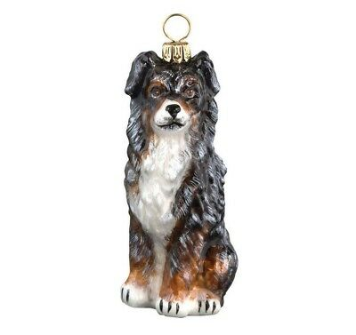 Blue Merle Australian Shepherd Dog Polish Blown Glass Christmas Ornament