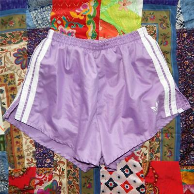 vtg ADIDAS purple track running sprint shorts S XS disco PANTY LINED 70s 80s