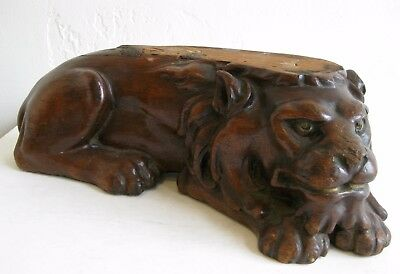 Antique Hand Carved Wood Reclining Lion Figural Sculpture Architectural Stand