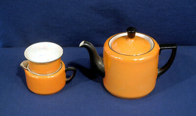 Vtg Antique Orange Luster Individual Tea Set Teapot Creamer Sugar Czechoslovakia