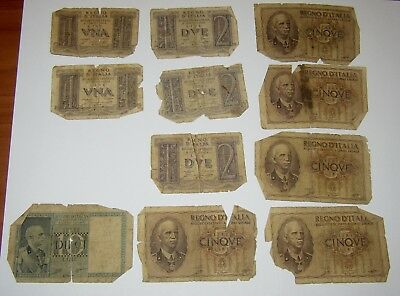 Group of 11 Worn and Tattered 1930's WWII Lire Notes