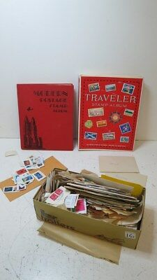 Huge Assorted Lot of Unsorted World Stamps and 2 Albums, Vintage/Antique