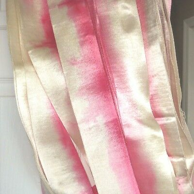 "1y 3"" PINK OMBRE SATIN RIBBON RAYON WEDDING VTG TRIM GROSGRAIN JACQUARD antique"