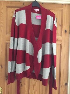 BNWT MATERNITY Ladies Pretty Red/Grey Striped Cashmere Blend Belted Cardigan M