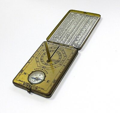 Vintage Sun Dial tin Compass By Sunwatch