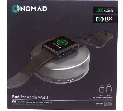New Nomad Pod apple-sg-001 Portable Charger for Apple Watch Models, Space Gray
