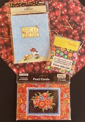 Mary Engelbreit Lot Breit Red 12 Post Cards 10 Note Cards Mini Magnetic Notebook