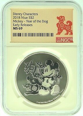 2018 NGC MS69 Niue Mickey Mouse - 1oz Silver Year of the Dog  (b135i)