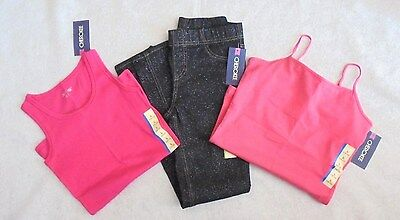 Cherokee - 3 Pc Lot Sparkly Bl Jeggings, Pk Tank & Cami Girls Size 10-12 NWT