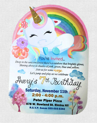 Glitter Unicorn Birthday Invitations REAL 1st First