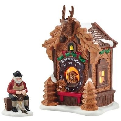 Dept 56 Alpine Village Christmas Market Black Forest Clocks Set/2 BRAND NEW