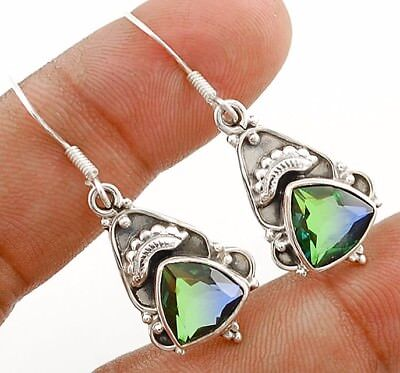 3CT Double Color Tourmaline Quartz 925 Solid Sterling Silver Earrings Jewelry
