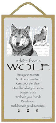 Advice From a WOLF 10 x 5 Wood SIGN Plaque USA Made
