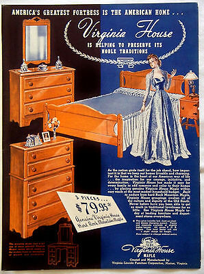 Vintage 1942 Virginia House Maple Bedroom Suite Furniture Magazine Ad