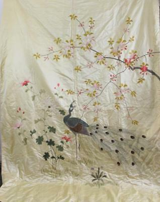 "C1920s Chinese Silk Embriodered Bedspread Hanging Blanket Peacock 89 x 68"" NR"