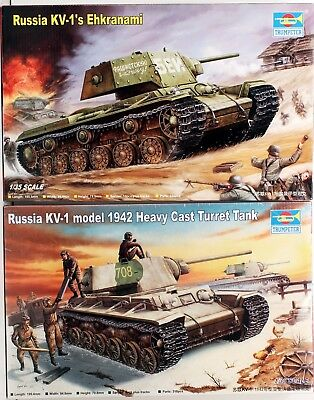 Trumpeter  lot of 2, 1/35,  Russian KV-1 1942 Heavy Cast Turret and KV-1 S Ehkra