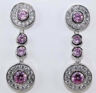 4CT Pink Sapphire & White Topaz 925 Solid Sterling Silver Earrings Jewelry