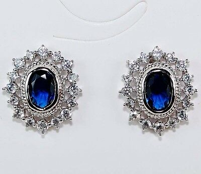 2CT Blue Sapphire & White Topaz 925 Solid Sterling Silver Earrings Jewelry