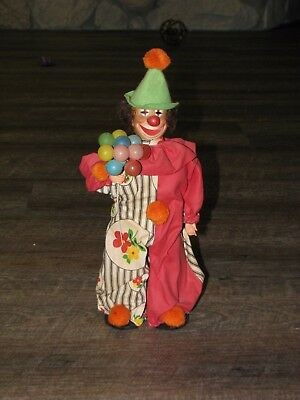 Unique Vintage Handmade Figurine Plastic Circus Clown with Balloons 13""
