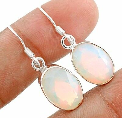 12CT Fire Opalite 925 Solid Sterling Silver Earrings Jewelry 1 1/3'' Long