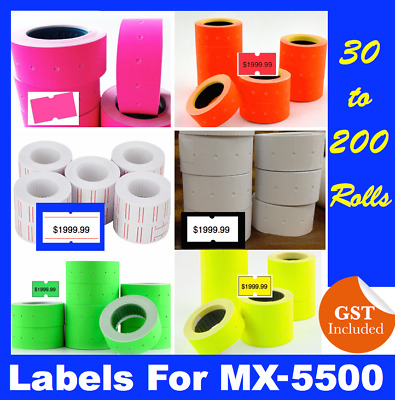 Fluoro Fluro Pricing Price Tag Gun Label Rolls Mx5500 Pink Yellow Green Orange