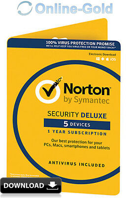 Norton Security 2018 5 Geräte 1 Jahr - EU Version - PC MAC Internet Security