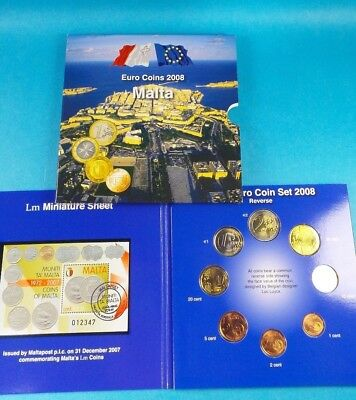 Malta Official 2008 Brilliant Uncirculated Euro  Coin & Stamp Collection