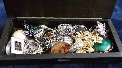 Wooden Box Containing Job Lot Of Antique.vintage Jewellery With Silver £9.99 Exc