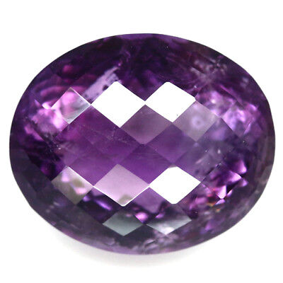26.19 Ct Natural! Purple Clr Change To Pink Amethyst Oval Checkerboard Brazilian