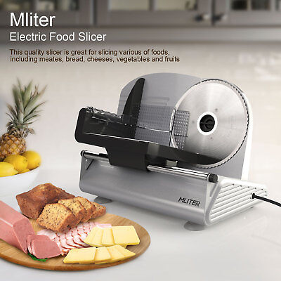 """Mliter 7.5"""" Electric Food Bread Meat Slicer 150W Removable Blade Stainless Steel"""