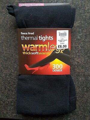 New Warm Legs Black Fleece Lined Thermal Tights 300 Denier Size L/XL