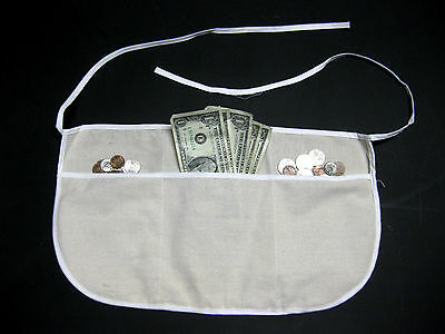 Three Pocket Canvas Fabric Tie On Waist Apron Money Change Carnival Holder New