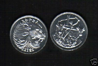 ETHIOPIA 1 CENT 1977 - 1997 LION MAN OX PLOWING UNC COIN 10 PCS Free Shipping