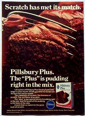 1978 Pillsbury Plus Devil's Food Pudding Cake Mix Magazine Print Ad