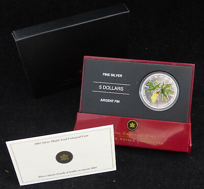 2005 Canada 5$ Dollars Fine Silver Coin The Bigleaf Maple